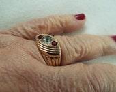 1930s Art Deco 14k  rose gold filled ruby diamond ring  mens ring size 9