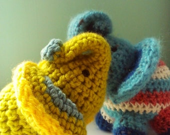 Elephant Small Crochet Stuffed Doll Toy Round Adorable Baby Green Blue