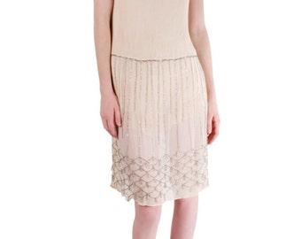 1920s Romantic and Sweet Vintage Cream Dress with Intricate Beading Sequence Sz. S/M/L