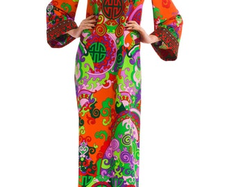 1960s Vintage Inspired Printed maxi-dress  Size: XS/S