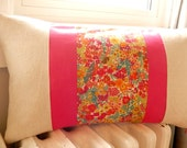 "Pretty little pillow -  zippered pillow cover- 12"" X 21"" - hot pink linen and Liberty of London fabric"