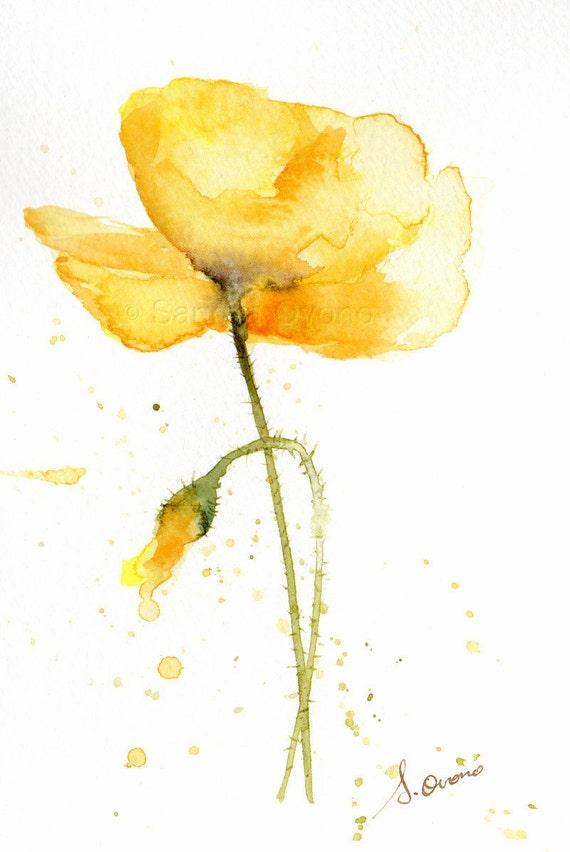 Yellow poppy original watercolor painting Small flower
