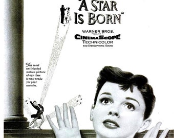 1954 Judy Garland A Star is Born Hollywood Movie Poster Iconic Musical Film Black and White Cabaret Vaudeville Theatre Cinema Wall Art Decor
