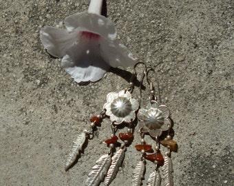 HALF PRICE Boho Lightweight Embossed Silver Flower Feather Amber Stones Chandelier Earrings