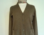 70s 80s Green Cashmere Cardigan, Perlie