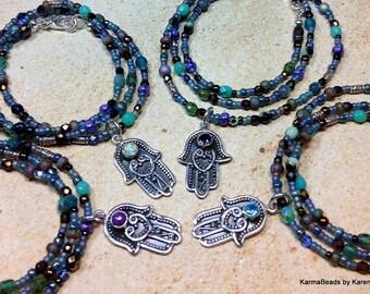 Hamsa Necklace Zen Sterling Silver Bali Hamsa Hand Select Gemstone Beaded Necklace