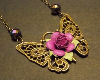 Plum and Bronze Butterfly Rose Necklace