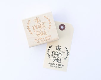 Custom Wedding Favor Stamp - The Perfect Blend - Personalized Wedding Stamp for DIY Wedding Favors - Hand Lettered Wedding Stamp