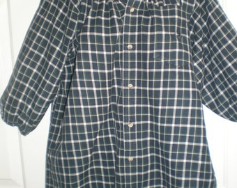 Peasant Blouse upcycled from a men's shirt, 50 inch chest, ladies XL,  navy and green plaid