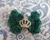 Crown Hair Clip - Green Hair Clip - Rosette Hair Clip - Emerald Green Hair Clip - Princess Crown Hair Clip - Small Hair Clip - Boutique Clip