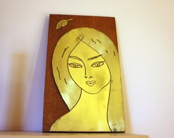 Autumn Picture, brass, women, art, wall hanging