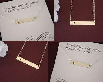 5 Bridesmaid Gifts Initial Bar Necklace, Rectangle Sterling Silver, Personalized, Mother Name Charm Silver, Thin Rectangle, Best Friend