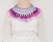 PLUMMY / Woven leather & Dyed ombre tassel tribal statement necklace - Ready to Ship
