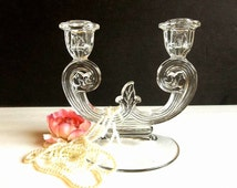 Vintage Double Candlestick Holder, pressed glass two arm candle holder, ornate, scroll, home decor, Mid Century candelabra retro