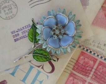 Cornflower Blue Enamel Flower Pin with Rhinestone Center 1950s Vintage
