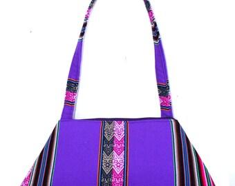 Vibrant, Peruvian textile, retro style, bright lavendar