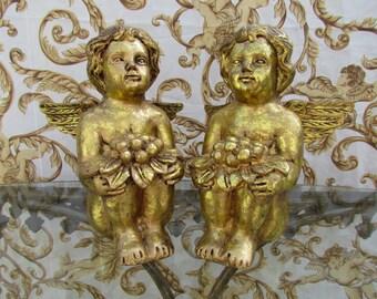 Gold Angel Cherub Statue Pair