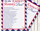 Baseball Baby Shower Who knows Mommy Best Game Printable Instant Download