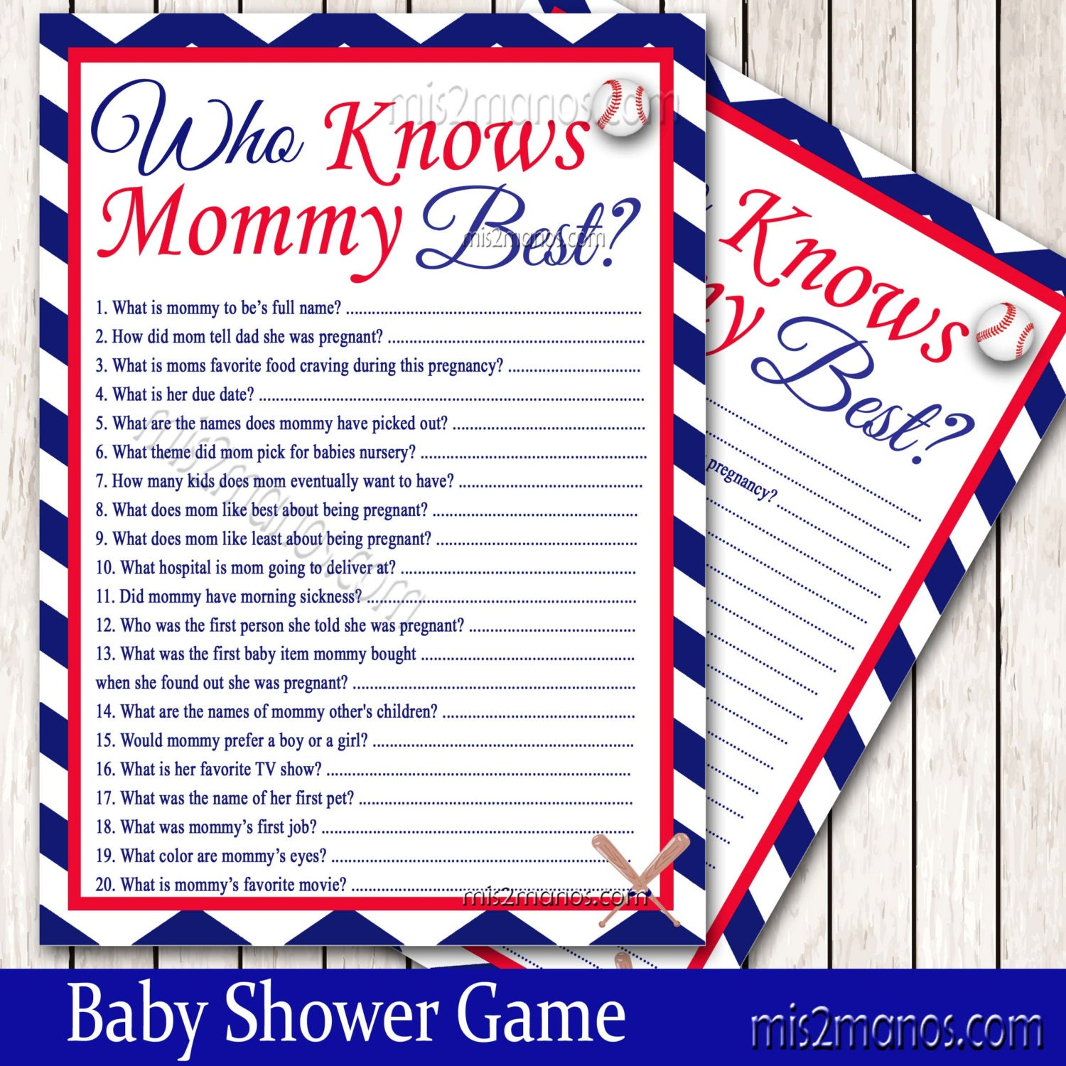 baseball baby shower who knows mommy best game printable