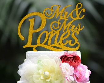 Personalized Wedding Cake Topper, Custom Made Last Name Mr and Mrs Acryic Cake Topper 058