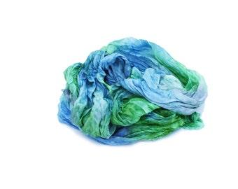 green scarf, blue silk scarf - April Freshness  -  grass green, sky blue, light grey silk scarf.