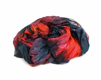 red silk scarf - Elba -  orange, red, pink,dark teal, black  silk scarf.