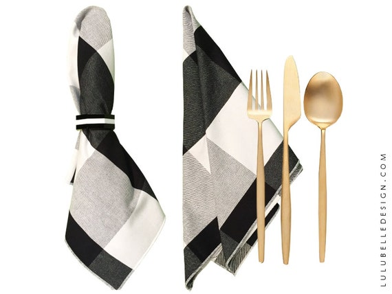 Buffalo Check Cloth Napkin, Black and White, Set of 4