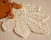 Crochet leaf doily Crocheted cotton lace doilies Cream crochet doilies Doily lace crochet Home decor autumn