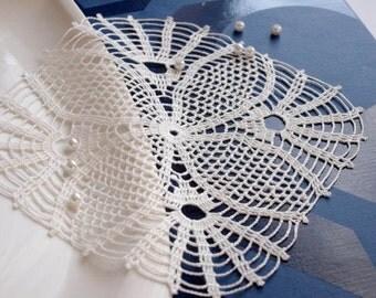 Square crochet doily White lace doilies Crochet doilies Linen lace doily Table decor 242
