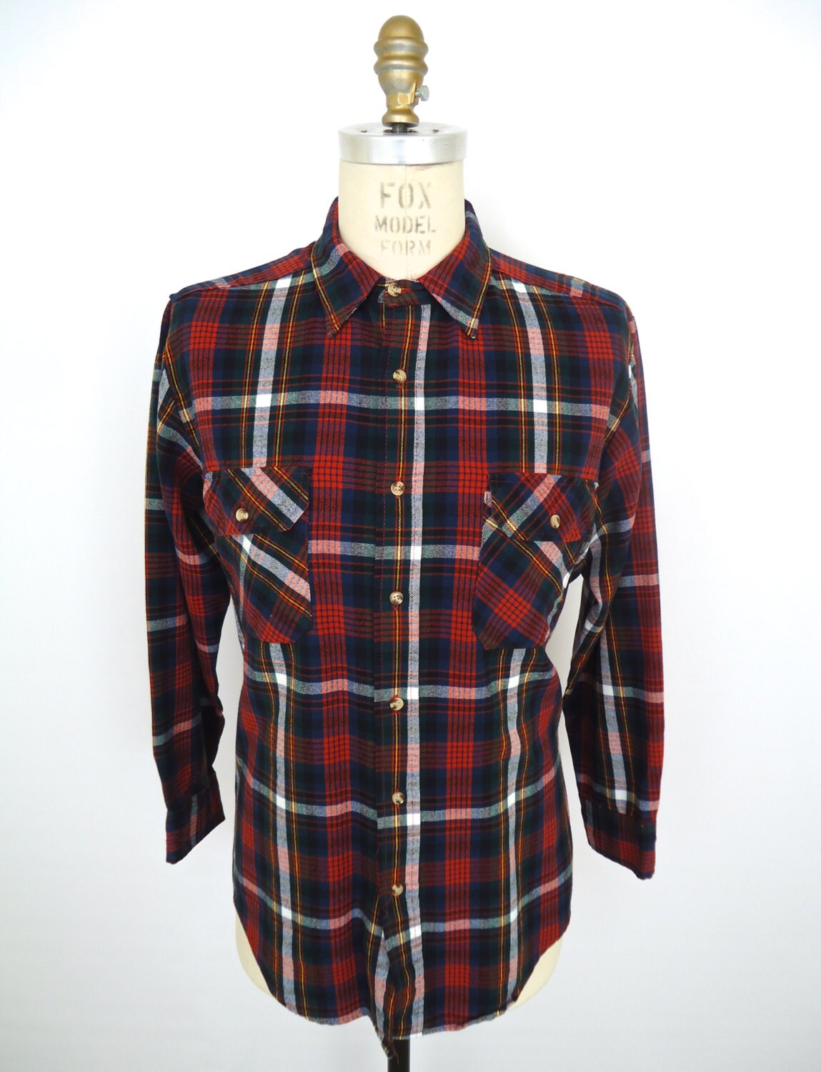 Vintage plaid flannel shirt blue red green white yellow for Green and black plaid flannel shirt
