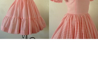 Early 60's Swing Dress. Bright Pink Gingham. Bust 34-36 inch