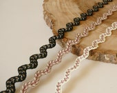 Crochet Ric Rac Braid Trim with embroidered leaf design, black, beige, cream - sold by the metre