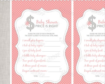 Price is Right Shower Game - Pink & Grey Baby Shower Game - INSTANT DOWNLOAD