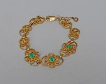 Vintage Victorian Bracelet Emerald Rhinestones 10k Gold Plated Milled Surface