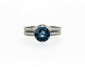 2.50ct London blue topaz engagement ring set, diamond wedding ring, curved band, teal gemstone, topaz engagement, solitaire, wedding set