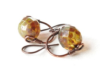 Glass bead earrings - faceted milk & honey Czech glass dangle - copper wire wrapped stirrup