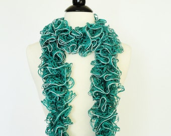 Ruffle Scarf Fashion Knit Frilly Ruffle Emerald Green Silver Trim- Girls Scarf, Womens Accessories, Teen Scarf, Gifts For Her, Womens Scarf