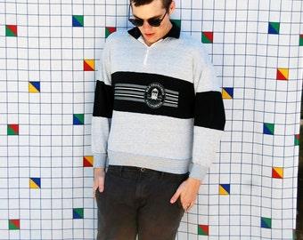 SAN FRAN Gray and Black Polo Sweatshirt