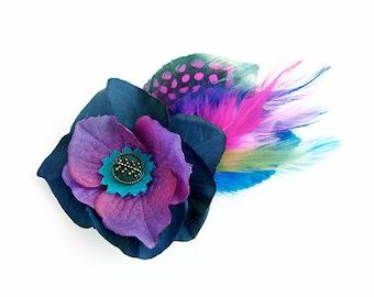 Purple flower feather fascinator graduation prom bridal wedding antique button alligator clip