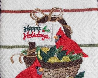 "Embroidered ""Season Greeting Cardinal"" Kitchen Towel"