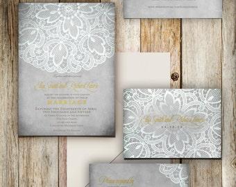 White lace wedding invitation suite
