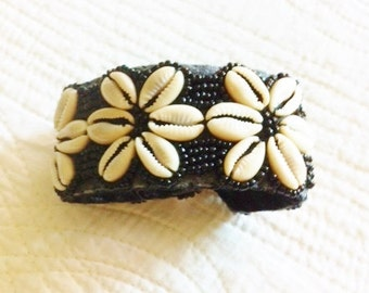Vintage Bohemian Raven Black and Pearl White Bead and Shell Cuff Style Bracelet, Olives and Doves