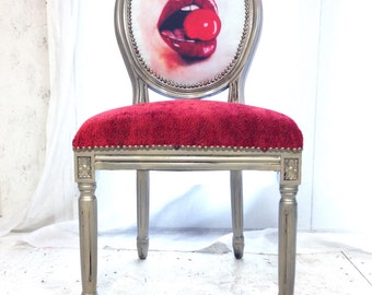 French Louis XVI Upholstered Accent Chair in Cherry Red Chenille Velvet Fabric Novelty Eclectic Pop Art Chair