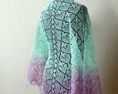 Hand knit linen shawl - mint + lavander - femine lace shawl