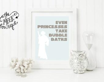 INSTANT Download, Star Wars Bathroom Wall Art Printable, Princess Leia Bubble Bath, No. 32