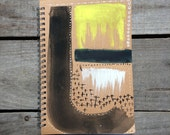 Blue & yellow traveller's journal, abstract art spiral bound notebook, gift for him