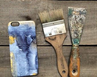 Cool iPhone case blue & yellow ochre, abstract painting phone cover, unique mobile accessories