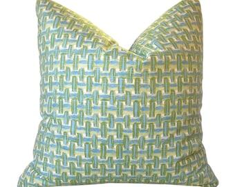 Custom Pillow Cover / Brushed Basket in Capri by Robert Allen / Aqua Blue Green / Basketweave / Both Sides / Made to Order