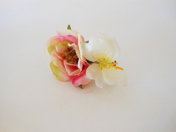 Flower Hair Barrette - Handmade Fabric Flower Hair Accessory - Large Flower Hair Piece - Pink Rose Flower and White Flower