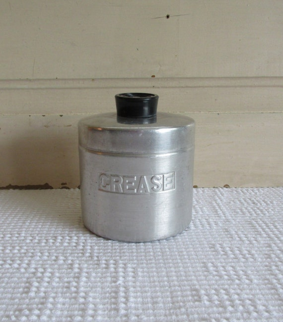 Aluminum grease container and strainer by tinkeringwithvintage